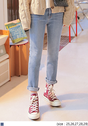 [BOTTOM] MID STRAIGHT DENIM PANTS