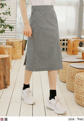 [SKIRT] UNBAL BANDING CHECK SKIRT