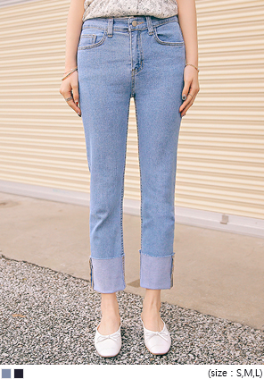 [BOTTOM] ATE STRAIGHT ROLL UP DENIM PANTS