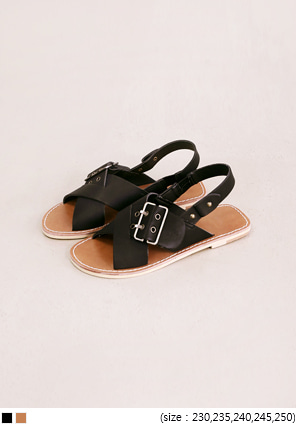 [SHOES] BIG BUCKLE COVER STRAP SANDAL