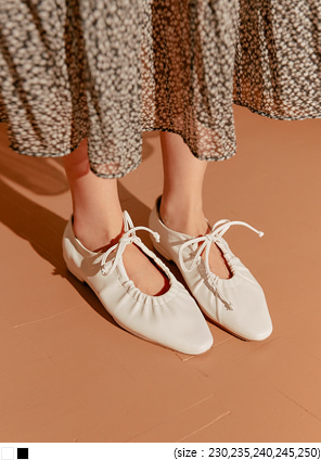 [SHOES] RAIL STRING LEATHER FLAT SHOES
