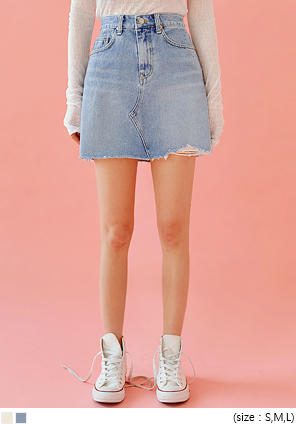 [SKIRT] CHENY DAMAGE DENIM MINI SKIRT