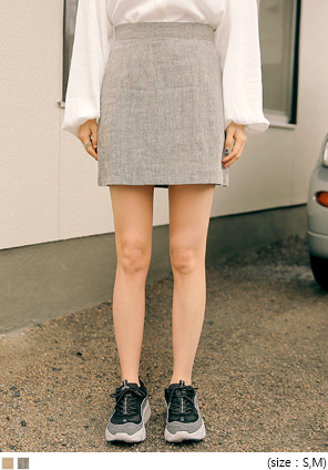 [SKIRT] HERRINGBONE LINEN SET-UP MINI SKIRT