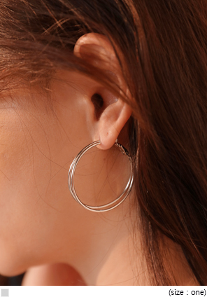 [JEWELRY] DOUBLE LINE HOOP EARRING