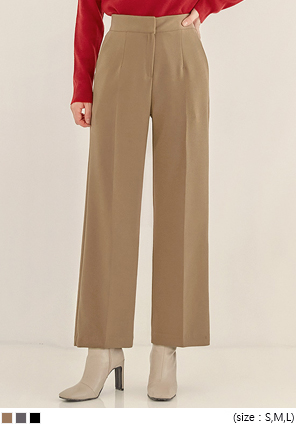 [BOTTOM] BRIM PINTUCK STRAIGHT SLACKS