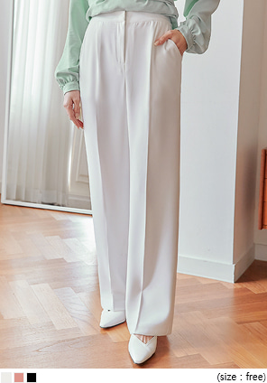 [BOTTOM] LOOSE PINTUCK WIDE LONG SLACKS