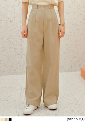 [BOTTOM] ICE PINTUCK WIDE COTTON PANTS