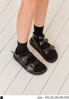 [SHOES] TOWARD BUCKLE BLACK SANDAL