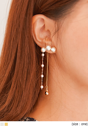[JEWELRY] RIND PEARL DROP EARRING