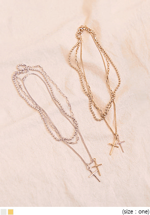 [JEWELRY] DOUBLE CROSS LAYERED NECKLACE