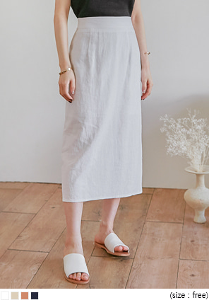 [SKIRT] CANBE LINEN BACK SLIT LONG SKIRT