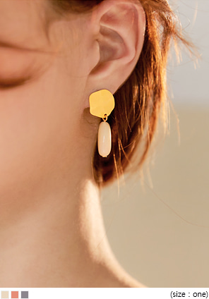 [JEWELRY] SIA COLOR STONE DROP EARRING