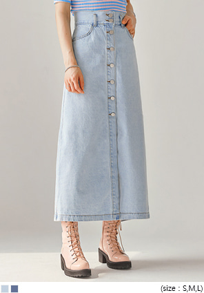 [SKIRT] VENI BUTTON PINTUCK DENIM SKIRT
