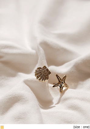 [JEWELRY] STARFISH SHELL UNBAL EARRING
