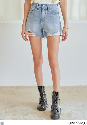 [BOTTOM] OREY DEMAGE DENIM SHORTS