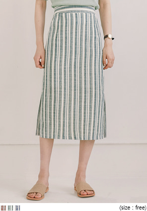 [SKIRT] FOEL LINEN STRIPE SIDE SLIT MIDI SKIRT