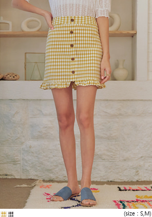 [SKIRT] NARIE CHECK BUTTON MINI SKIRT