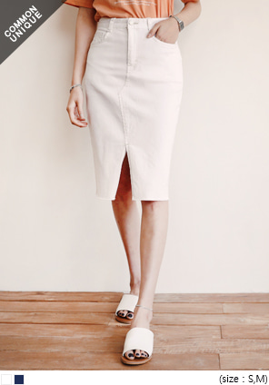 [SKIRT] MOLDOW STITCH SLIT H LINE SKIRT