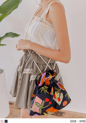 [BAG] TAZEN LINEN ROPE MINI BUCKET BAG