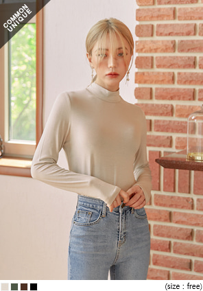 [TOP] BASIC SOFT RAYON HALF NECK T