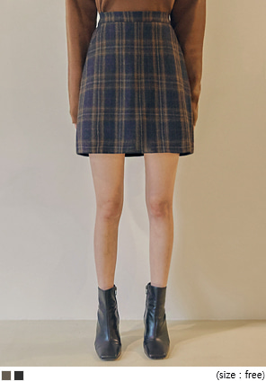 [SKIRT] ROITAN WOOL CHECK SET-UP MINI SKIRT
