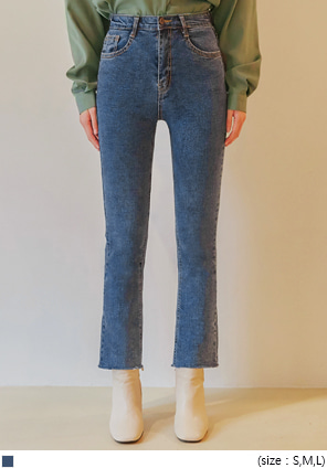 [BOTTOM] RILED HIDDEN BANDING DENIM PANTS