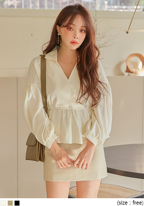 [TOP] PIERR PEACH BANDING WRAP BLOUSE