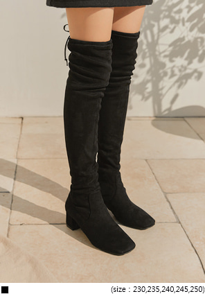 [SHOES] SUEDE STRAP THIGH HIGH BOOTS