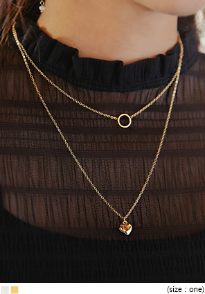[JEWELRY] RING HEART LAYERED NECKLACE