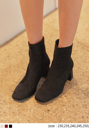 [SHOES] REMEN SUEDE SQUARE ANKLE BOOTS