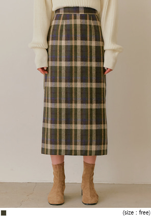 [SKIRT] PEDI WOOL CHECK BANDING LONG SKIRT