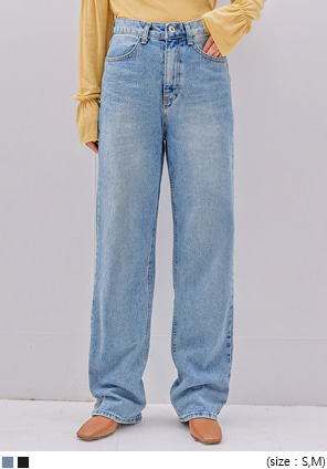[BOTTOM] TEMP STRAIGHT LONG DENIM PANTS