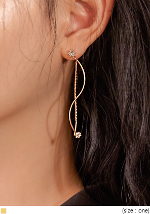 [JEWELRY] LAWEN WAVE CUBIC DROP EARRING