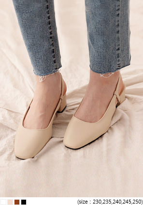 [SHEOS] SQUARE SLINGBACK MIDDLE HEEL