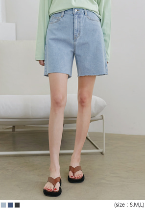 [BOTTOM] LANDING CUTTING DENIM SHORTS