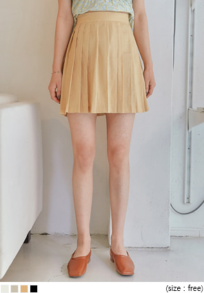 [SKIRT] ANSON LINEN PLEATS MINI SKIRT
