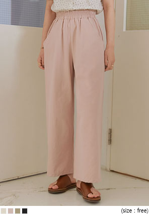 [BOTTOM] LUSE BANDING WIDE COTTON PANTS
