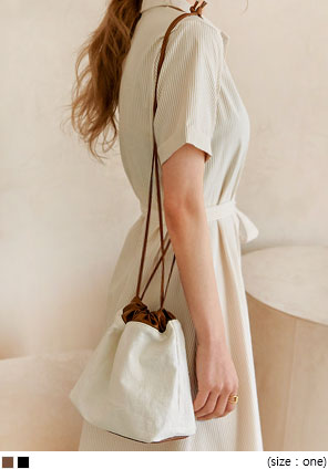 [BAG] OBLE COLORING COTTON BUCKET BAG