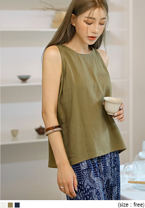 [TOP] LOGIS LINEN SLEEVELESS