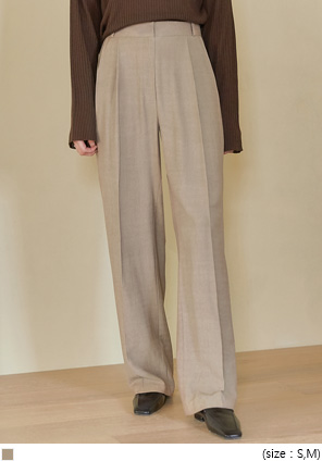 [BOTTOM] PAV LINEN PINTUCK WIDE SLACKS