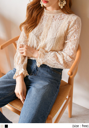 [TOP] NOBLY FLOWER NEEDLE LACE BLOUSE