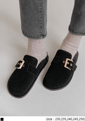 [SHOES] SUEDE GOLD BUCKLE BLOAFER