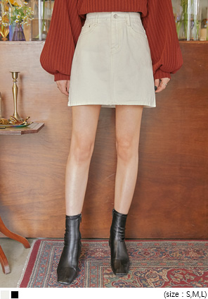 [SKIRT] HUNNY A LINE COTTON MINI SKIRT