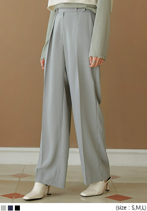 [BOTTOM] ROZYOU BUTTON WIDE SLACKS