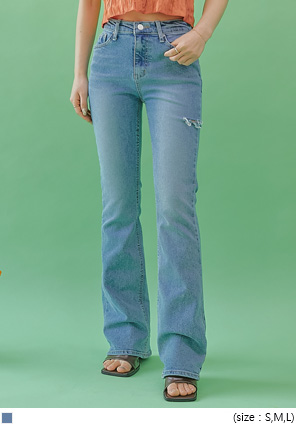 [BOTTOM] SIDE CUTING BOOTS DENIM PANTS