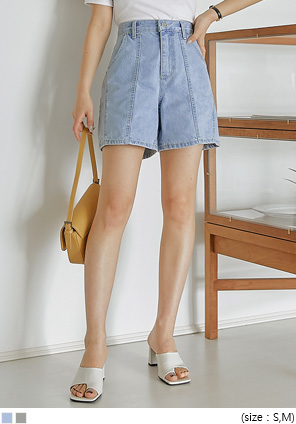 [BOTTOM] CONOS LINE DENIM SHORTS