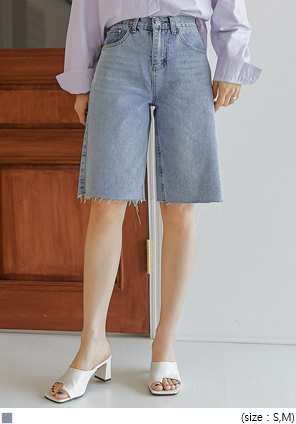 [BOTTOM] CONED CUTING HALF DENIM PANTS