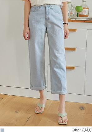 [BOTTOM] JED ROLL UP WIDE DENIM PANTS