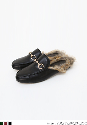 [SHOES] FW BACKLESS FUR LOAFER