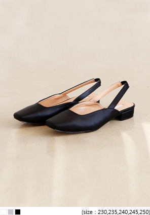 [SHOES] LEATHER FLAT SLINGBACK SHOES